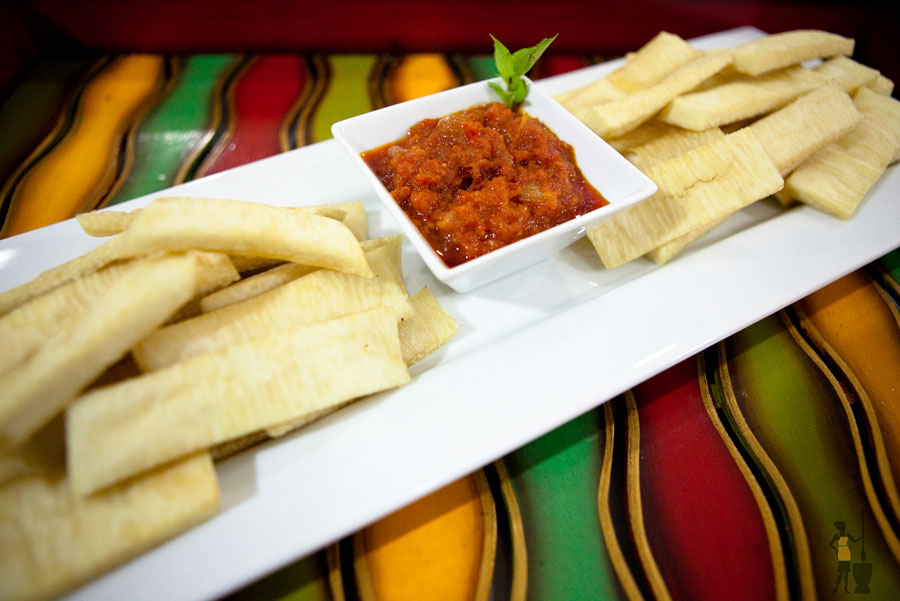 Fried yam (chips) & tomato stew