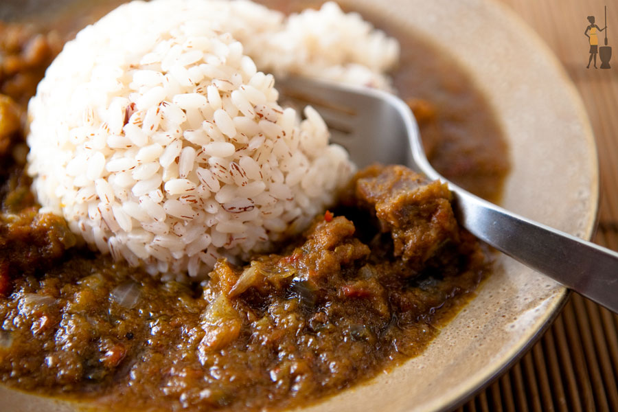 Ofada rice and ofada (ayemashe) stew.
