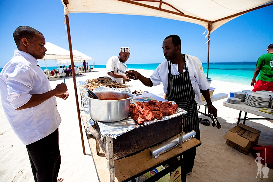 Lunch on the sand dunes of Zanzibar