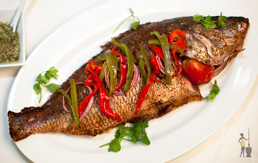 Baked Nigerian snapper and vegetable medley