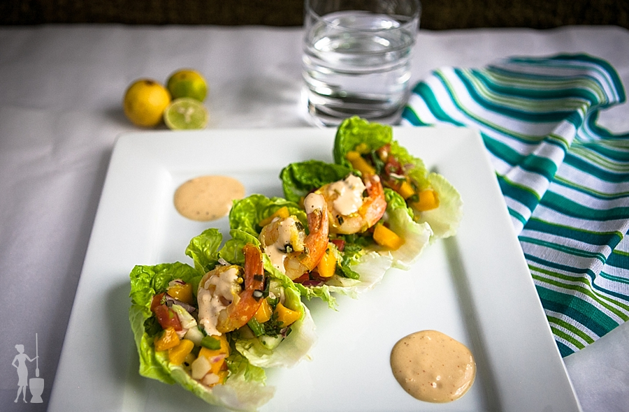 Shrimp Lettuce Wraps with Mango Salsa